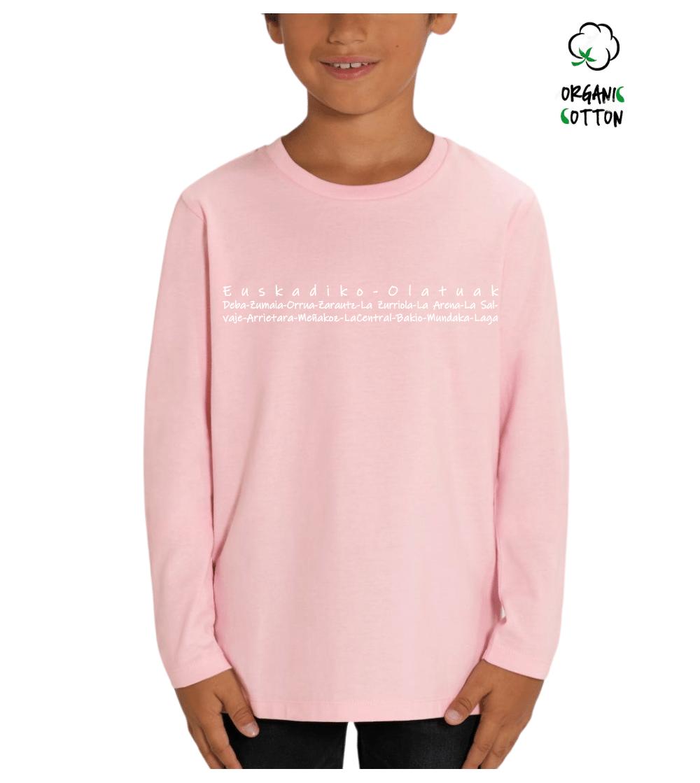 camiseta manga larga algodon orgánico niñ@s EUSKADIKO OLATUAK_STTK907_F_CottonPink_